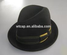 Black wool felt winter fedora hat