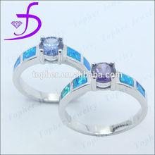 Man-made opal 925 silver sample wedding ring designs