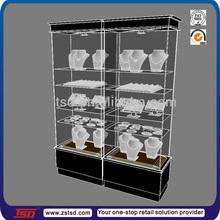 TSD-W280 Factory custom floor standing jewelry showcase/jewelry display cabinet/jewelry display case led lights