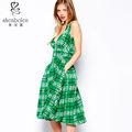 Sexy tiefer v midi Skater-Stil mit karomuster druck jade grünen kleid