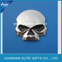 3D die-struck zinc alloy skull custom head badge,metal name badge for hallowmas