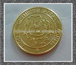 2014 Guangzhou no magnetic custom gold brass coin