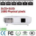 física 1920x1080 1080p dpi resolución al aire libre de tiro corto pasiva 3d 3 led proyector lcd