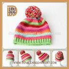 Child Hat with Top pom Kids Winter Rainbow Hat patterns