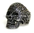 316L Stainless Steel Mens Skull Ring Flower Skull Head Biker Ring