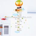 Bambini di altezza autoadesivo della parete per la decorazione domestica, palloncino per bambini cartoon crescita vignetta grafico, altezza di misurazione autoadesivo della parete rimovibile