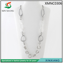 Long chain High Sale Sliver Crystal Connected Circle Necklace