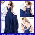 Ali2-002 2014 novos apliques comprimento do assoalho azul royal chiffon longo baratos vestidos de noite