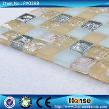 PY039B 300X300MM chinese decoration crystal yellow mosaic tile craft