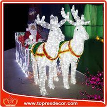 Wooden laser cut star shape metal Deer sleigh christmas decoration