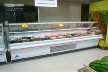 the curved glass deli refrigerator/cool dishes cooler/fresh fish freezer/raw meat cooler