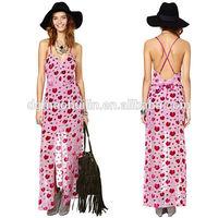 Pink printed chiffon maxi dress hawaiian dresses for women