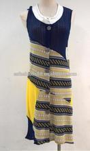Spring Summer Short Sleeved Round Neck Patch Work Dress