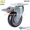 125mm giratoria de la pu de la rueda rueda con freno doble