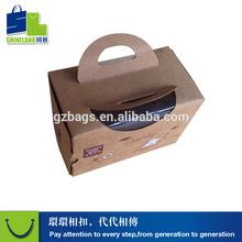 Brown kraft cookies box paper handle snack container