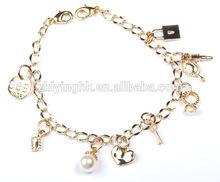 2014 Fashion Fancy Charm Bead Gold Color Zine Alloy Bracelet