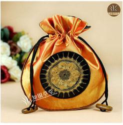Orange Sun flower Silk Brocade drawstring satin Pouch Gift pouch CH121