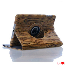 360 Degree Rotation and High Quality PU Leather Case for iPad 5 with Wood Grain
