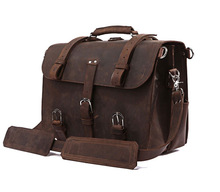 Drop Shipping Top Grade Crazy Horse Leather Briefcase Men Leather Executive Bags#7072R-1