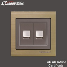 new model LK5026 champagne 2way wall TEL outlet with Aluminium panel