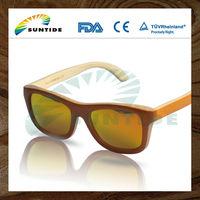Wooden sunglasses handmade bamboo with orange painting (ZA03)