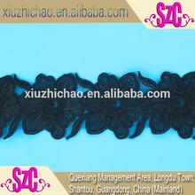 X0156K(0.7) factory direct sales black organza cord lace trim roll