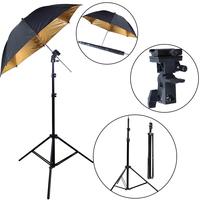 NEW PHOTOGRAPHIC Photo Studio Light Stand , Umbrella Flash B-Mount set -Wholesale/ Retail [AKT014]outside black , inside is gold