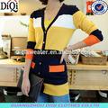 Para mujer koream estilo de manga larga chaqueta de punto patchwork nueva llegada del artículo