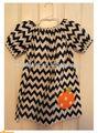 adorable vestido de ganchillo adorable chevron vestido de campesino raya con el cinturón de algodón de bebé vestido de la pu