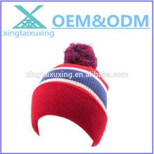 Men's Winter Striped Thick Knit Pom Pom Beanie Skull Ski Hat Cap Red Royal