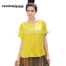 Outline Women's Round Hem Silk Short Fashion Plain T-shirts Design