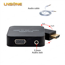 Promotion price HDMI Audio Video to VGA + 3.5mm Jack Audio Cable Video Converter Adapter PC Laptop DVD
