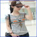 Caliente venta mujeres de moda a cuadros 100% algodón de la camiseta, Camiseta de la impresión venta al por mayor de china