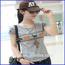 hot sale women fashion plaid 100%cotton t shirt, t shirt printing wholesale china