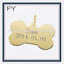 Gold customized metal pet bone tag