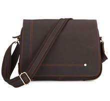 Magnet Top Cover Designer 12 Inches Laptop Shoulder Bag For Crazy Horse Leather 7058C