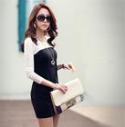 Big promotion Korean Slim thin Inner Dress design Spell color lace package hip dress large size women's long sleeve dress