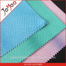 fashion animal pattern snake grain pu leather, python skin grain pu leather for bag