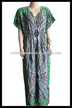 Algodón mujeres Kaftan / abaya / islámico vestido largo KF-T111