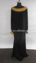 K2031 New Arrivals Chiffon Long Sleeve Beaded Islamic Women Clothing Abaya Jilbab Kaftan 2014