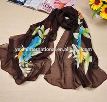 Coffee pashmina scarf printed scarf (100% polyester) SC026