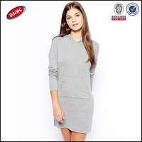 latest ladies grey cotton pullover long sleeve plain hoodie dress made in China