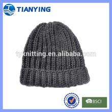 adults age acrylic grey rib knitted cuff beanie hat