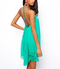 Promotions!! Fashion Women Backless Sling Strap Mini Dress Sleeveless Pure Color chiffon evening dress Party Beach Dress G0326