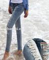 de estilo europeo de la moda popular ripped jeans para mujer