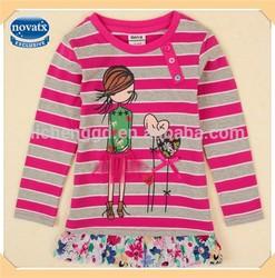 ( F4846 ) FG 18M-6Y Nova kids casual clothes girls long sleeve autumn / spring strip t shirt tutu top
