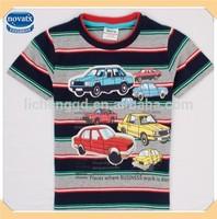 ( C4853 ) GNR 18M-6Y children stripe t shirts with car printed wholesale kids summer wear