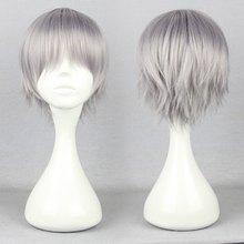 Cheap Peluca 32Cm Short Gray Male Wigs EVA-Kaworu Nagisa/Tabris Cosplay Wig