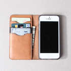 Full grain Italian vegetable tanned leather eco-friendly phone case Italian leather phone wallet for iphone 5 case leather