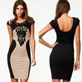 m l xl vestido bandage 2014 nova chegada mulheres bodycon elegantes vestidos de moda de nova bordado patchwork design vestido g0480